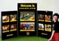 Velcro, three panel table top display for Gold's Gym