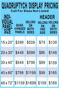 Quadruptych Table Top Display Pricing