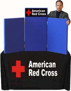 Table Top Display With Header, Table Skirt And Graphics For American Red  Cross.